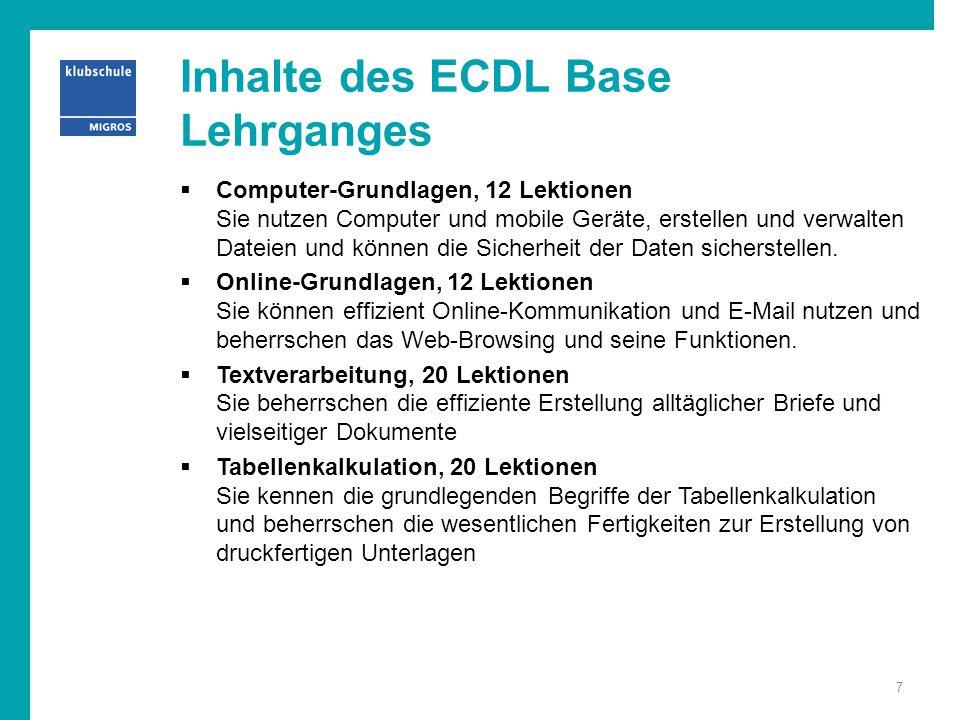 Inhalte des ECDL Base Lehrganges  Computer-Grundlagen, 12 Lektionen Sie nutzen Computer und mobile Geräte, erstellen und verwalten Dateien und können