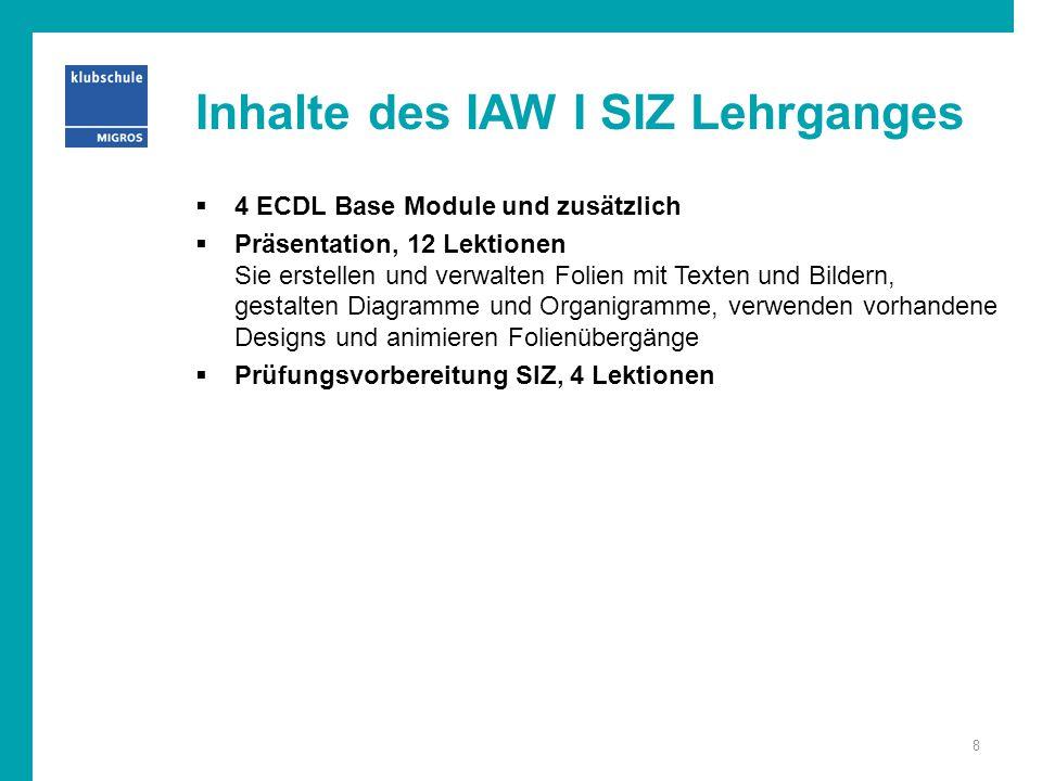 Inhalte des IAW I SIZ Lehrganges  4 ECDL Base Module und zusätzlich  Präsentation, 12 Lektionen Sie erstellen und verwalten Folien mit Texten und Bi