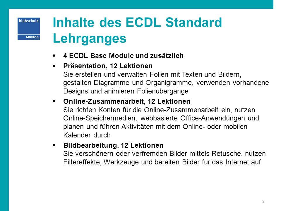 Inhalte des ECDL Standard Lehrganges  4 ECDL Base Module und zusätzlich  Präsentation, 12 Lektionen Sie erstellen und verwalten Folien mit Texten un