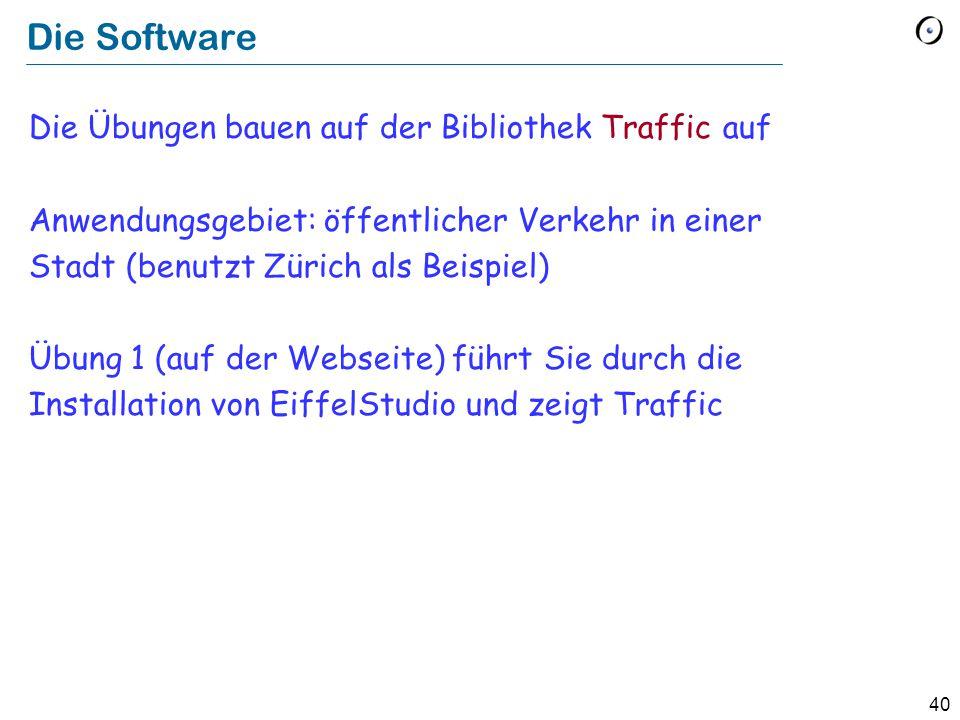 40 Die Software Die Übungen bauen auf der Bibliothek Traffic auf Anwendungsgebiet: öffentlicher Verkehr in einer Stadt (benutzt Zürich als Beispiel) Ü