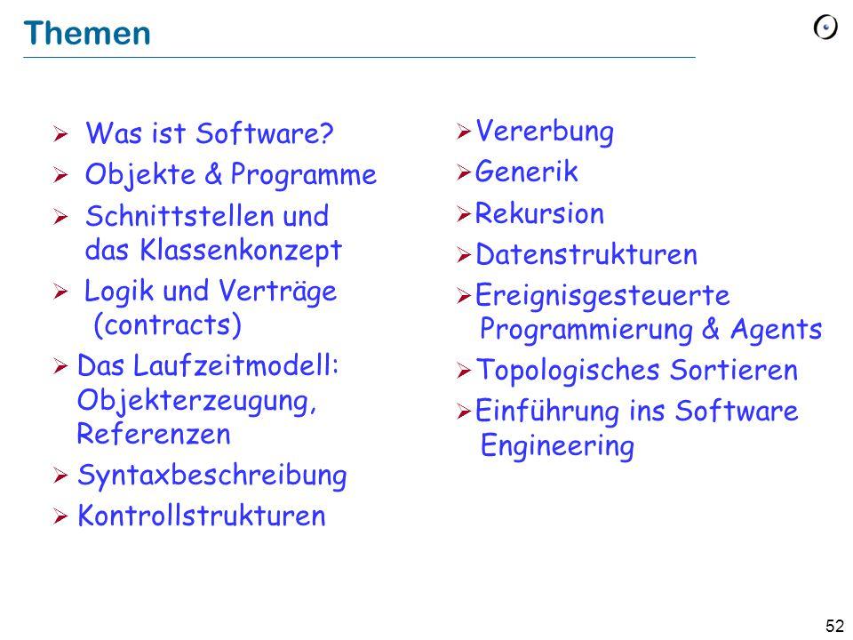 52 Themen  Was ist Software?  Objekte & Programme  Schnittstellen und das Klassenkonzept  Logik und Verträge (contracts)  Das Laufzeitmodell: Obj