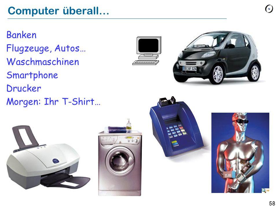 58 Computer überall… Banken Flugzeuge, Autos… Waschmaschinen Smartphone Drucker Morgen: Ihr T-Shirt…