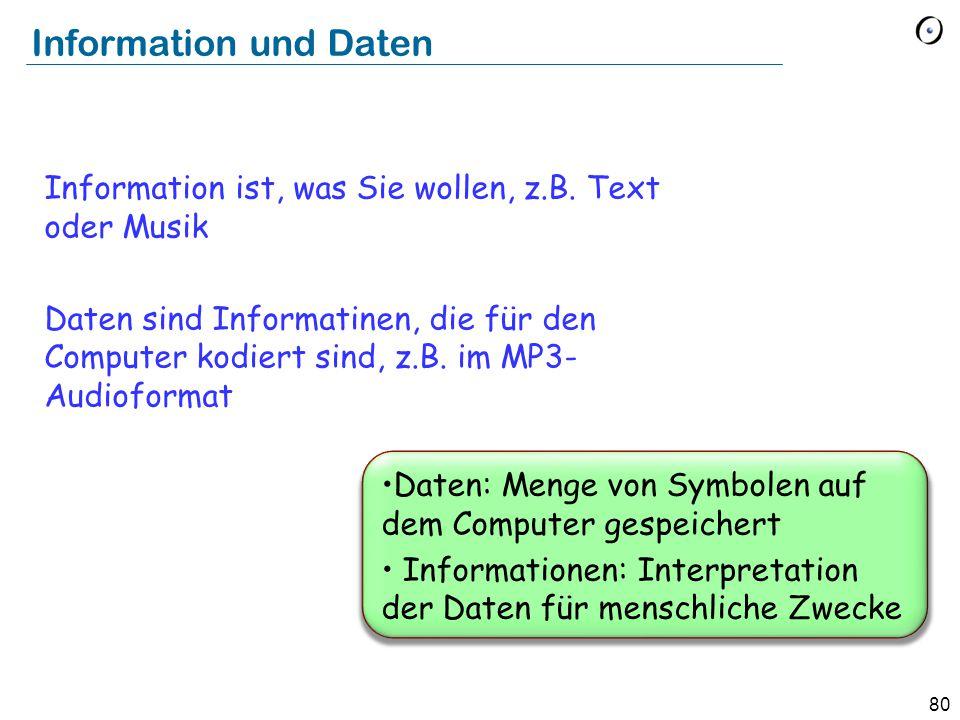 80 Daten: Menge von Symbolen auf dem Computer gespeichert Informationen: Interpretation der Daten für menschliche Zwecke Information und Daten Informa