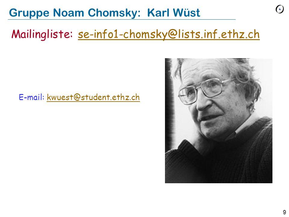 9 Gruppe Noam Chomsky: Karl Wüst E-mail: kwuest@student.ethz.chkwuest@student.ethz.ch Mailingliste: se-info1-chomsky@lists.inf.ethz.chse-info1-chomsky