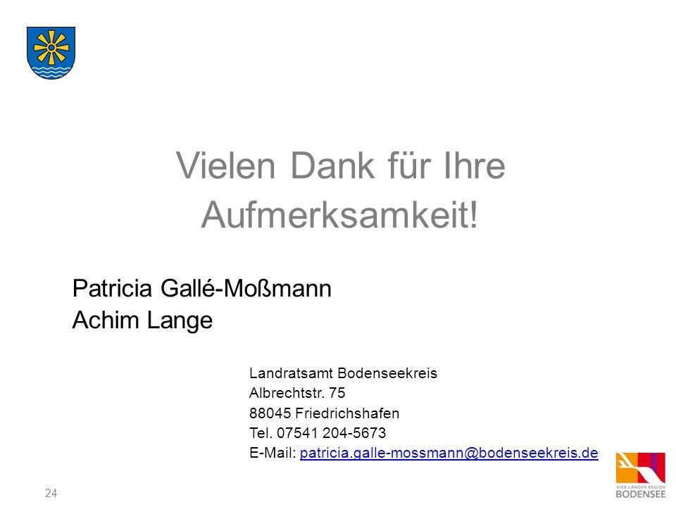 24 Vielen Dank für Ihre Aufmerksamkeit! Patricia Gallé-Moßmann Achim Lange Landratsamt Bodenseekreis Albrechtstr. 75 88045 Friedrichshafen Tel. 07541