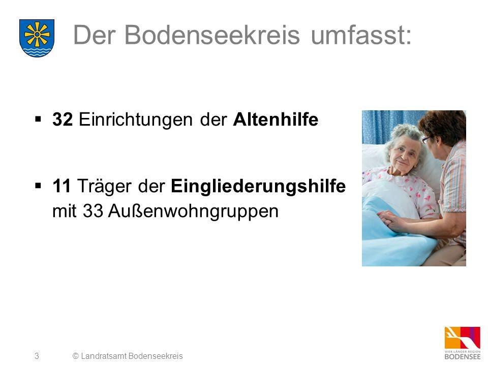 3 Der Bodenseekreis umfasst:  32 Einrichtungen der Altenhilfe  11 Träger der Eingliederungshilfe mit 33 Außenwohngruppen © Landratsamt Bodenseekreis