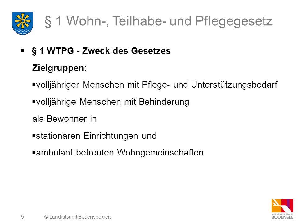 9 § 1 Wohn-, Teilhabe- und Pflegegesetz  § 1 WTPG - Zweck des Gesetzes Zielgruppen:  volljähriger Menschen mit Pflege- und Unterstützungsbedarf  vo