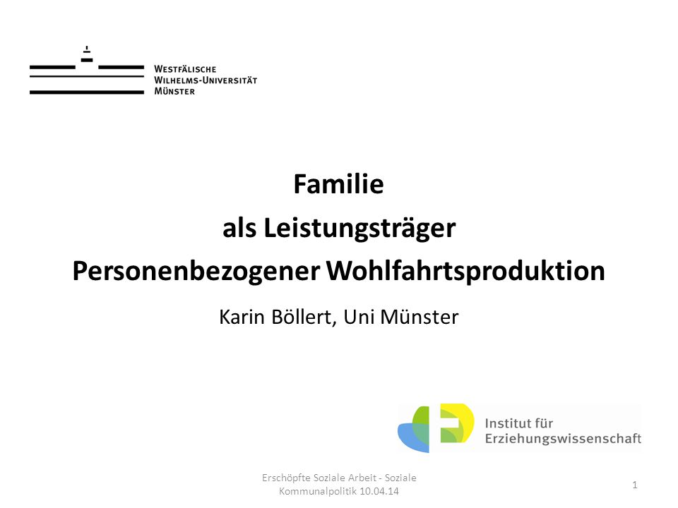 Familie als Leistungsträger Personenbezogener Wohlfahrtsproduktion Karin Böllert, Uni Münster Erschöpfte Soziale Arbeit - Soziale Kommunalpolitik 10.0