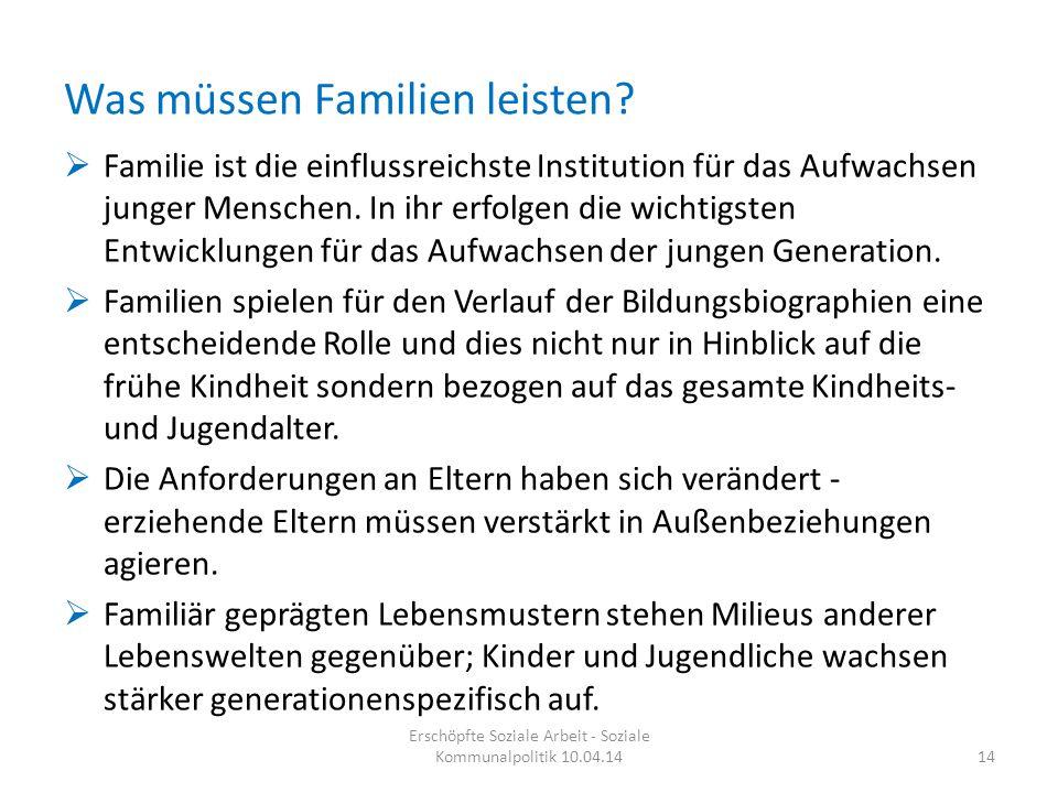 Was müssen Familien leisten?  Familie ist die einflussreichste Institution für das Aufwachsen junger Menschen. In ihr erfolgen die wichtigsten Entwic