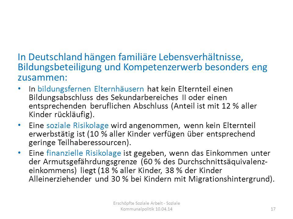 In Deutschland hängen familiäre Lebensverhältnisse, Bildungsbeteiligung und Kompetenzerwerb besonders eng zusammen: In bildungsfernen Elternhäusern ha