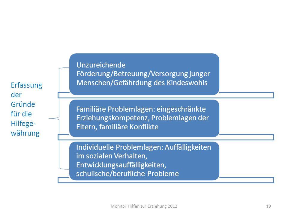 Unzureichende Förderung/Betreuung/Versorgung junger Menschen/Gefährdung des Kindeswohls Familiäre Problemlagen: eingeschränkte Erziehungskompetenz, Pr