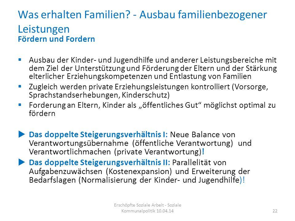 Was erhalten Familien? - Ausbau familienbezogener Leistungen 22 Erschöpfte Soziale Arbeit - Soziale Kommunalpolitik 10.04.14 Fördern und Fordern  Aus