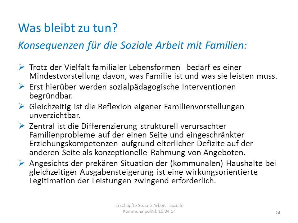 Was bleibt zu tun? Konsequenzen für die Soziale Arbeit mit Familien:  Trotz der Vielfalt familialer Lebensformen bedarf es einer Mindestvorstellung d