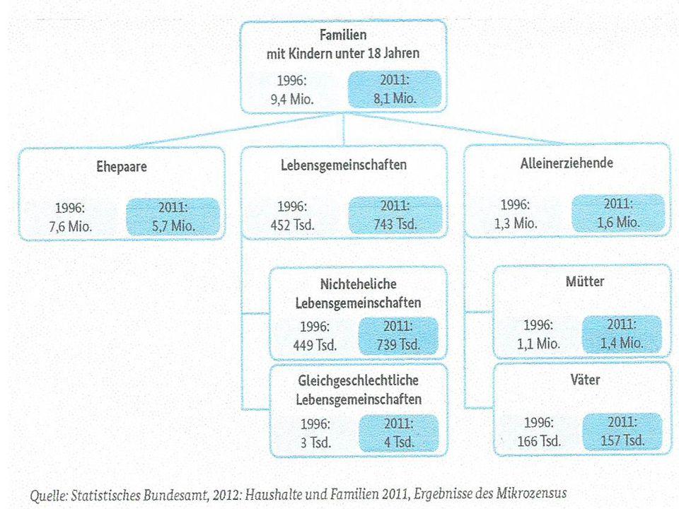  2011 lebten 12,9 Millionen minderjährige Kinder in Deutschland, von denen 83 % mit zwei Eltern gemeinsam in einem Haushalt lebten.