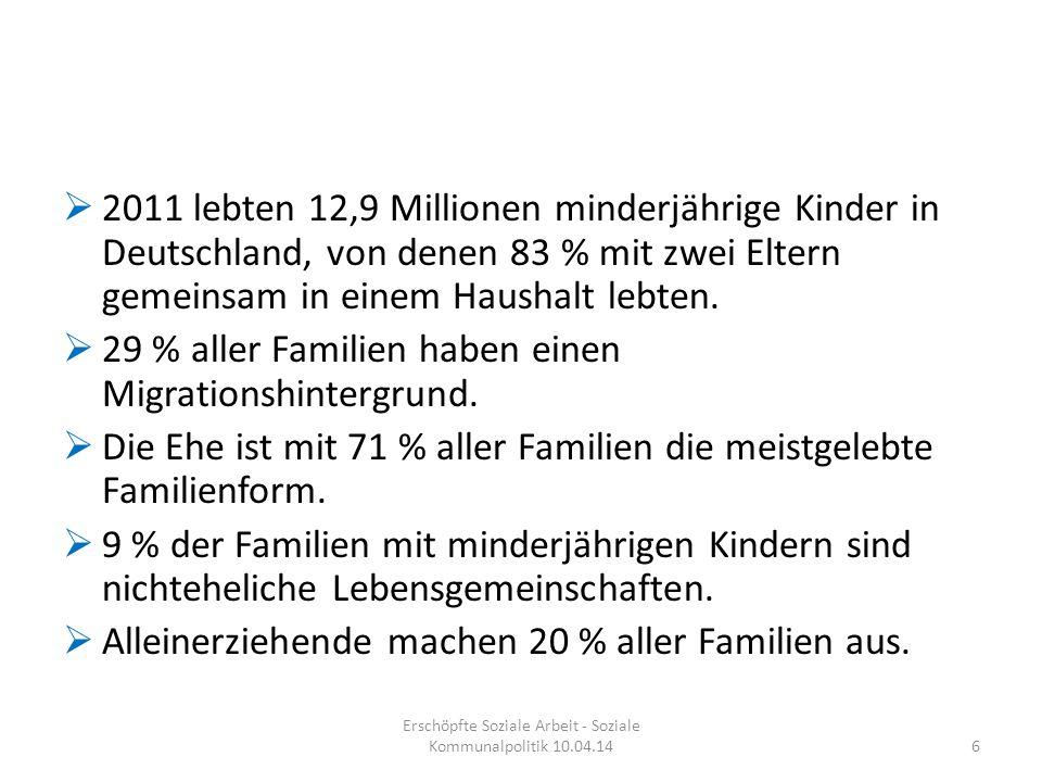  2011 lebten 12,9 Millionen minderjährige Kinder in Deutschland, von denen 83 % mit zwei Eltern gemeinsam in einem Haushalt lebten.  29 % aller Fami