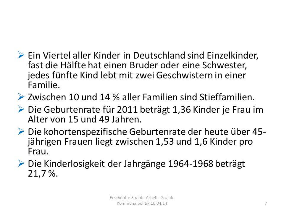  Ein Viertel aller Kinder in Deutschland sind Einzelkinder, fast die Hälfte hat einen Bruder oder eine Schwester, jedes fünfte Kind lebt mit zwei Ges