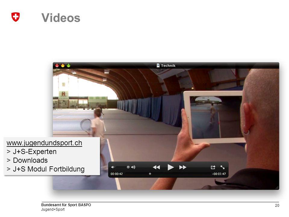 20 Bundesamt für Sport BASPO Jugend+Sport Videos www.jugendundsport.ch > J+S-Experten > Downloads > J+S Modul Fortbildung www.jugendundsport.ch > J+S-Experten > Downloads > J+S Modul Fortbildung