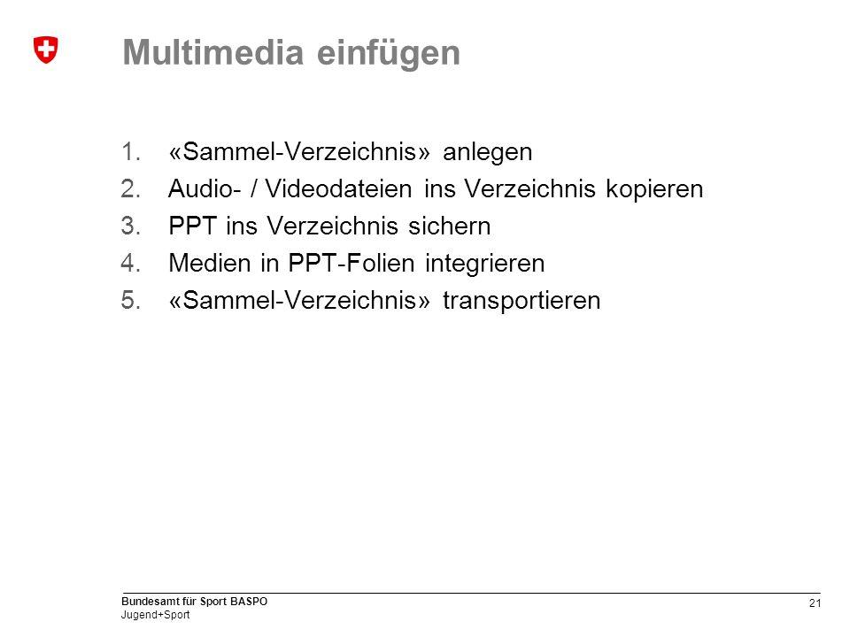 21 Bundesamt für Sport BASPO Jugend+Sport Multimedia einfügen 1.«Sammel-Verzeichnis» anlegen 2.Audio- / Videodateien ins Verzeichnis kopieren 3.PPT ins Verzeichnis sichern 4.Medien in PPT-Folien integrieren 5.«Sammel-Verzeichnis» transportieren