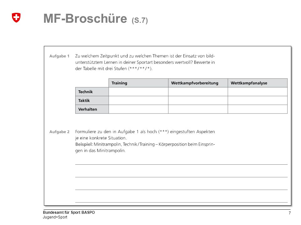 7 Bundesamt für Sport BASPO Jugend+Sport MF-Broschüre (S.7)