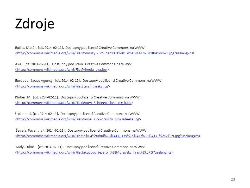 Zdroje Baťha, Matěj. [cit. 2014-02-11]. Dostupný pod licencí Creative Commons na WWW: <http://commons.wikimedia.org/wiki/File:Robousy_-_rouben%C3%BD_d