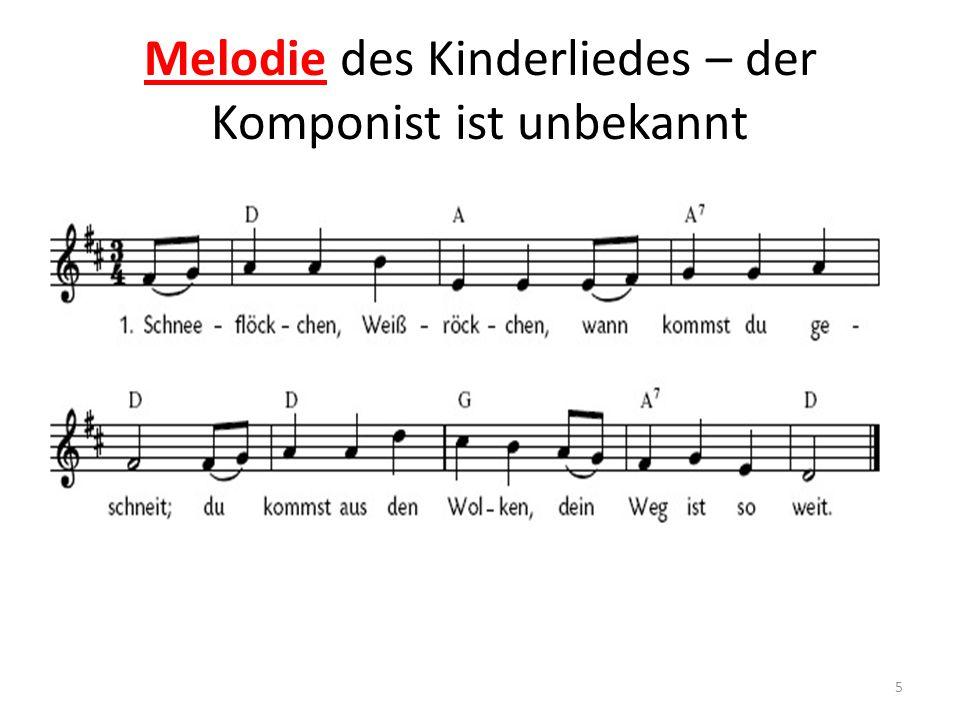 Melodie des Kinderliedes – der Komponist ist unbekannt 5