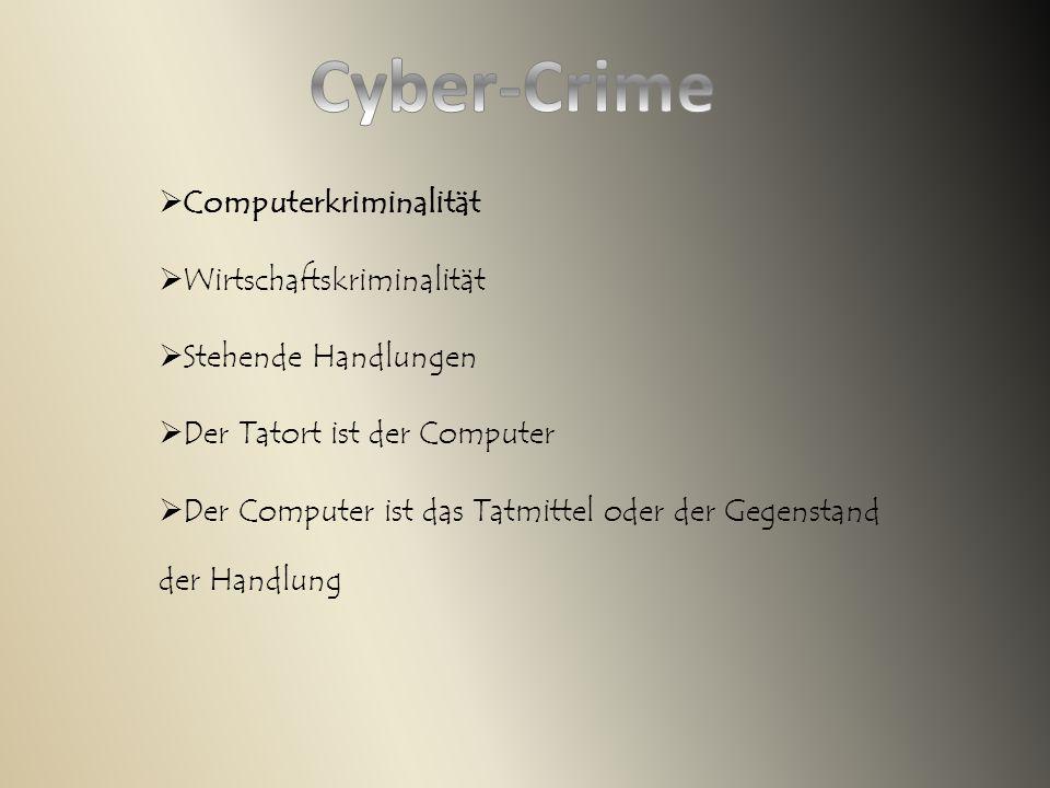  Computerkriminalität  Wirtschaftskriminalität  Stehende Handlungen  Der Tatort ist der Computer  Der Computer ist das Tatmittel oder der Gegenstand der Handlung