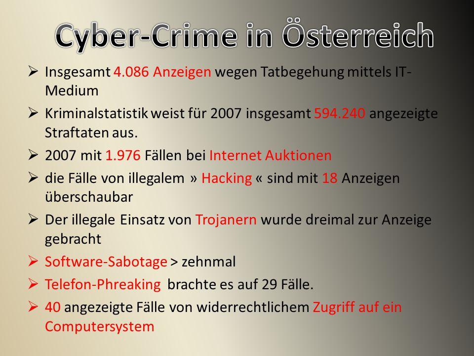  Insgesamt 4.086 Anzeigen wegen Tatbegehung mittels IT- Medium  Kriminalstatistik weist für 2007 insgesamt 594.240 angezeigte Straftaten aus.