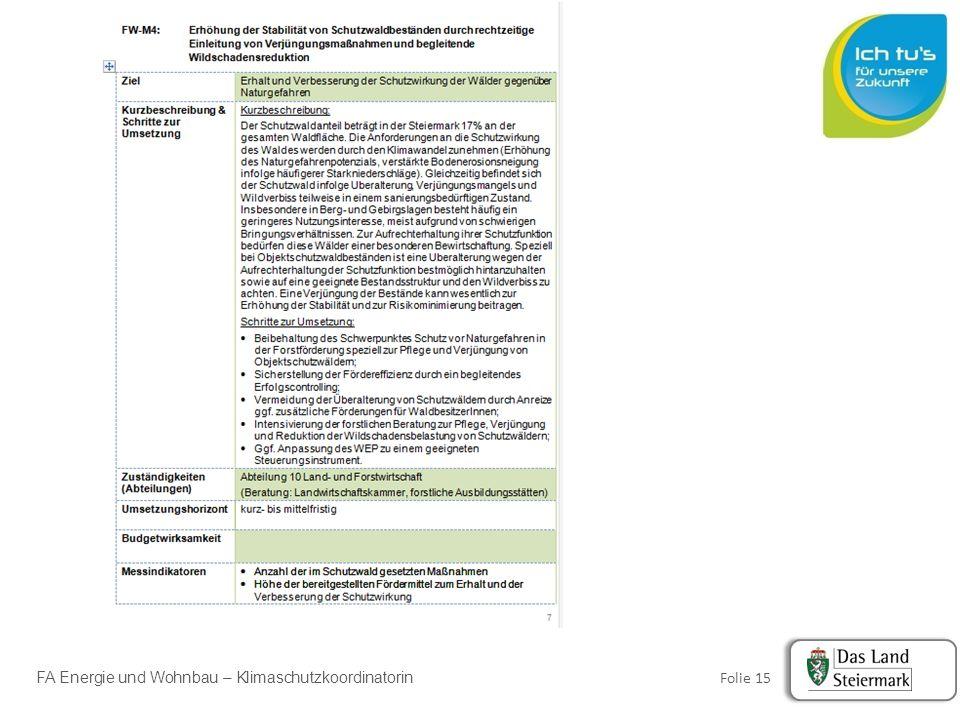 FA Energie und Wohnbau – Klimaschutzkoordinatorin Folie 15