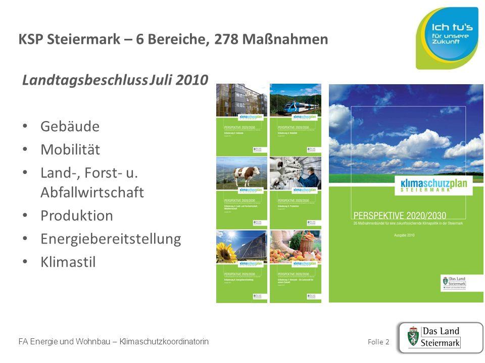 FA Energie und Wohnbau – Klimaschutzkoordinatorin Folie 13 Kernteam Operative Koordination Klimaschutzkoordinatorin Erweitertes Projektteam A7, A10, A14, A16, LADKS, FA Gesundheit A8, A10, A12, A13, A16, FA Energie/Wohnbau A15/Energie und Wohnbau LR Intern Extern Projektorganisation: KWA-Strategie Steiermark 2050 Interessens-vertretung, NGOs, Sozialpartner, Gemeindevertretungen, Politik…usw.