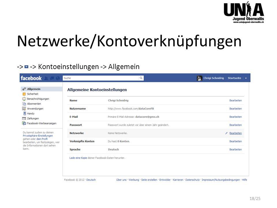 Netzwerke/Kontoverknüpfungen -> -> Kontoeinstellungen -> Allgemein 18/25