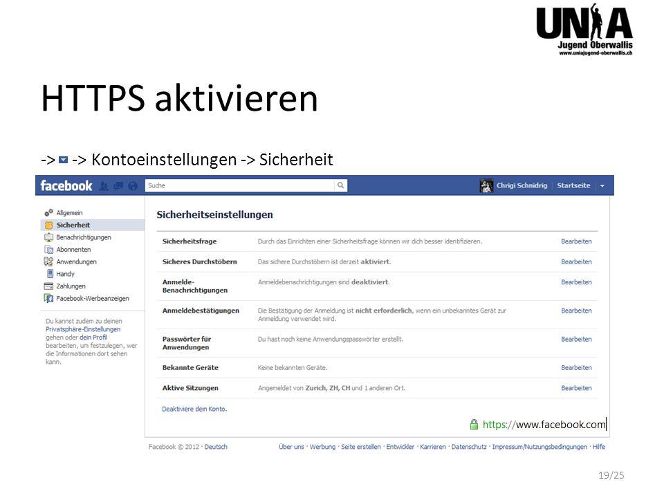 HTTPS aktivieren -> -> Kontoeinstellungen -> Sicherheit 19/25