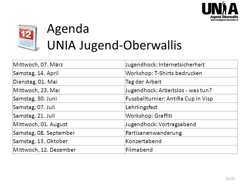 Agenda UNIA Jugend-Oberwallis Mittwoch, 07. MärzJugendhock: Internetsicherheit Samstag, 14.