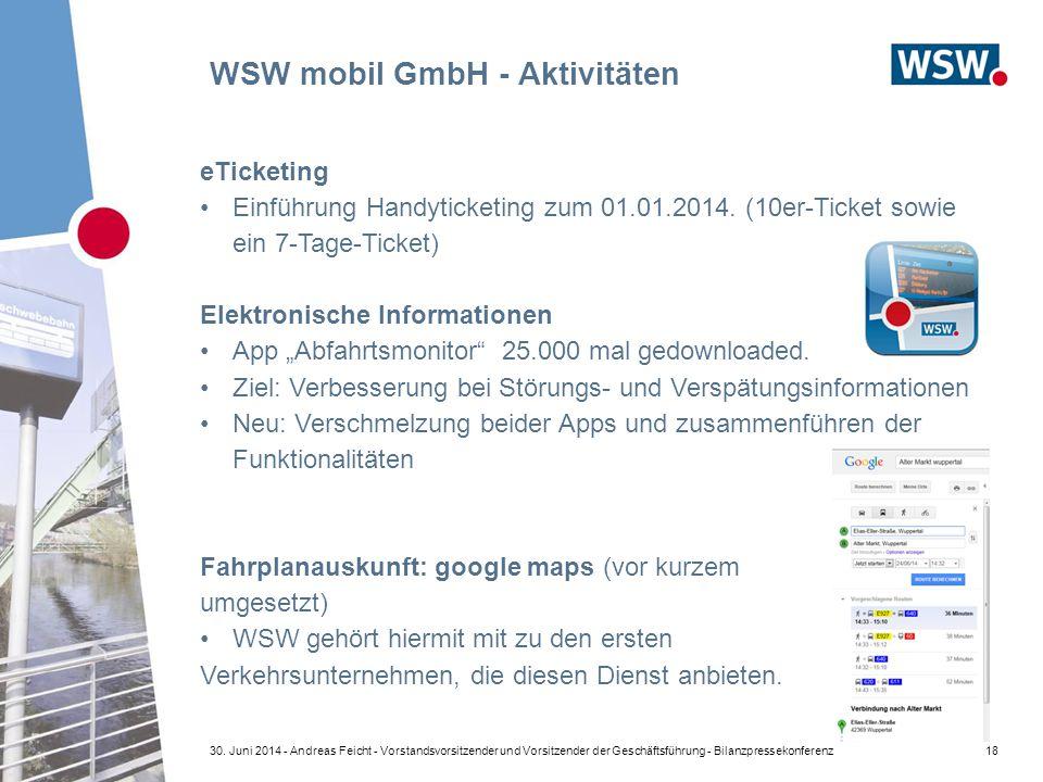 WSW mobil GmbH - Aktivitäten 18 eTicketing Einführung Handyticketing zum 01.01.2014. (10er-Ticket sowie ein 7-Tage-Ticket) Elektronische Informationen