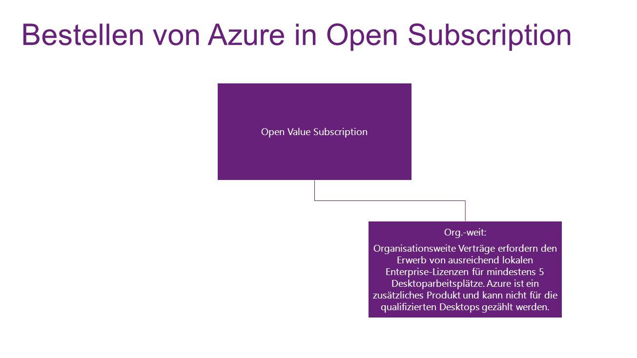Bestellen von Azure in Open Subscription