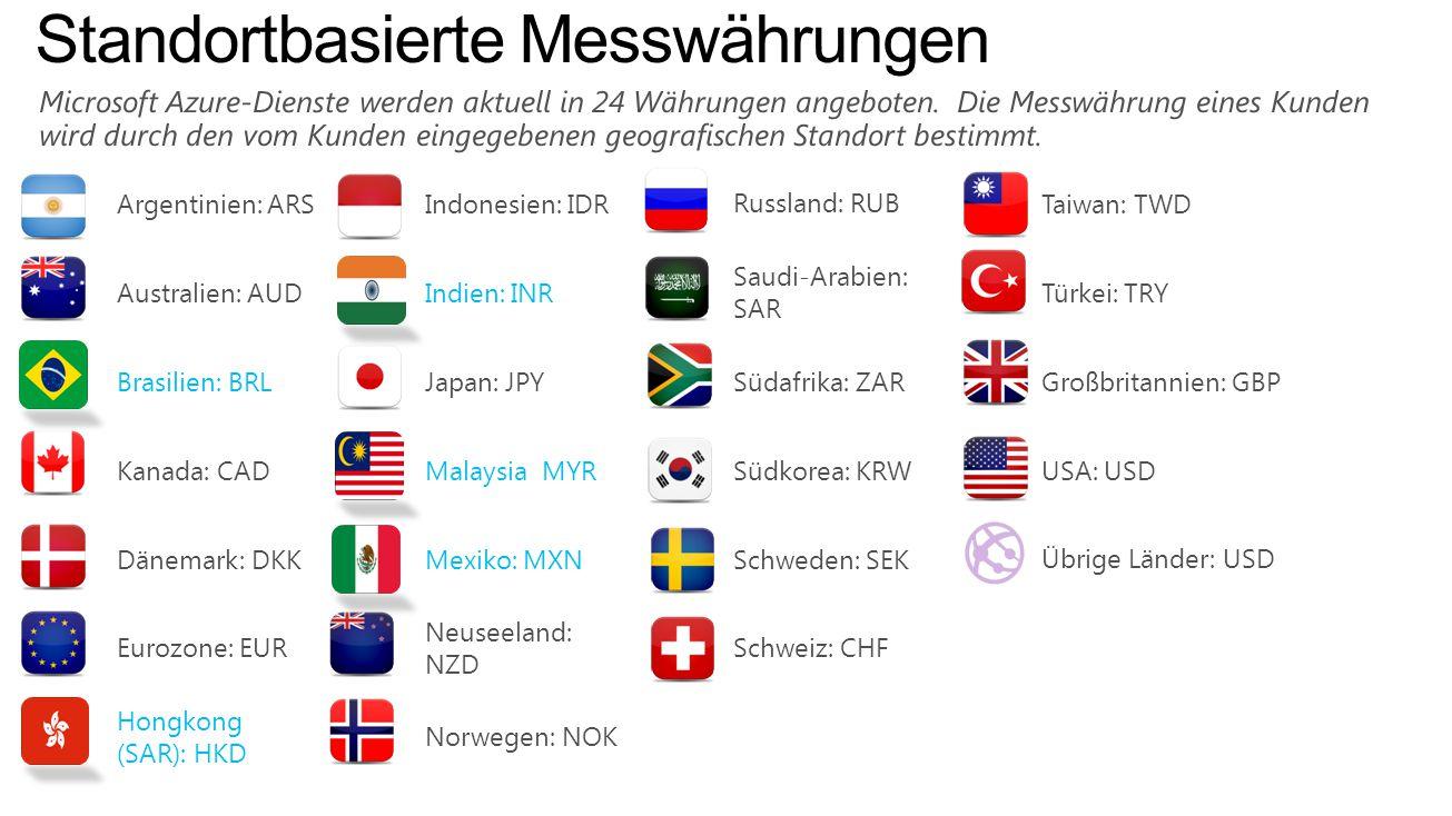 Argentinien: ARSIndonesien: IDRRussland: RUBTaiwan: TWD Australien: AUDIndien: INR Saudi-Arabien: SAR Türkei: TRY Brasilien: BRLJapan: JPYSüdafrika: ZARGroßbritannien: GBP Kanada: CADMalaysia MYRSüdkorea: KRWUSA: USD Dänemark: DKKMexiko: MXNSchweden: SEKÜbrige Länder: USD Eurozone: EUR Neuseeland: NZD Schweiz: CHF Hongkong (SAR): HKD Norwegen: NOK Standortbasierte Messwährungen