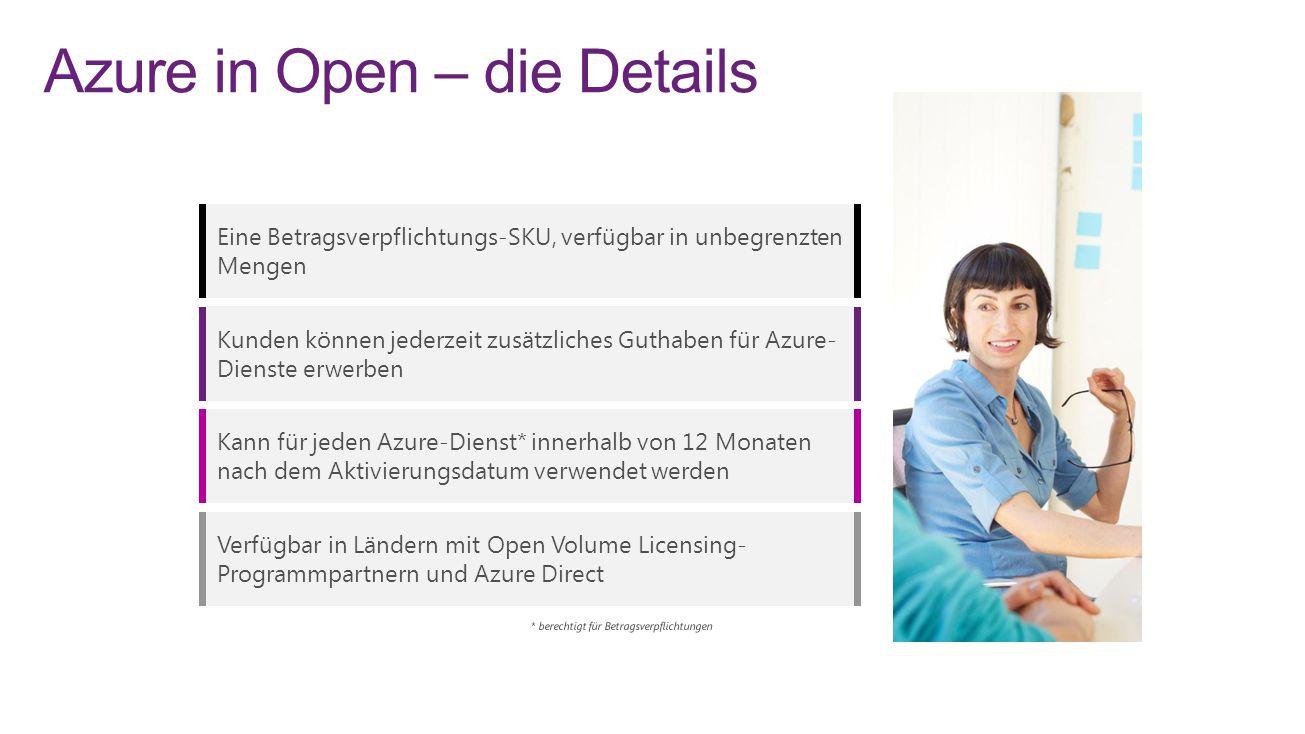 Azure in Open – die Details Eine Betragsverpflichtungs-SKU, verfügbar in unbegrenzten Mengen Kunden können jederzeit zusätzliches Guthaben für Azure- Dienste erwerben Kann für jeden Azure-Dienst* innerhalb von 12 Monaten nach dem Aktivierungsdatum verwendet werden Verfügbar in Ländern mit Open Volume Licensing- Programmpartnern und Azure Direct 8