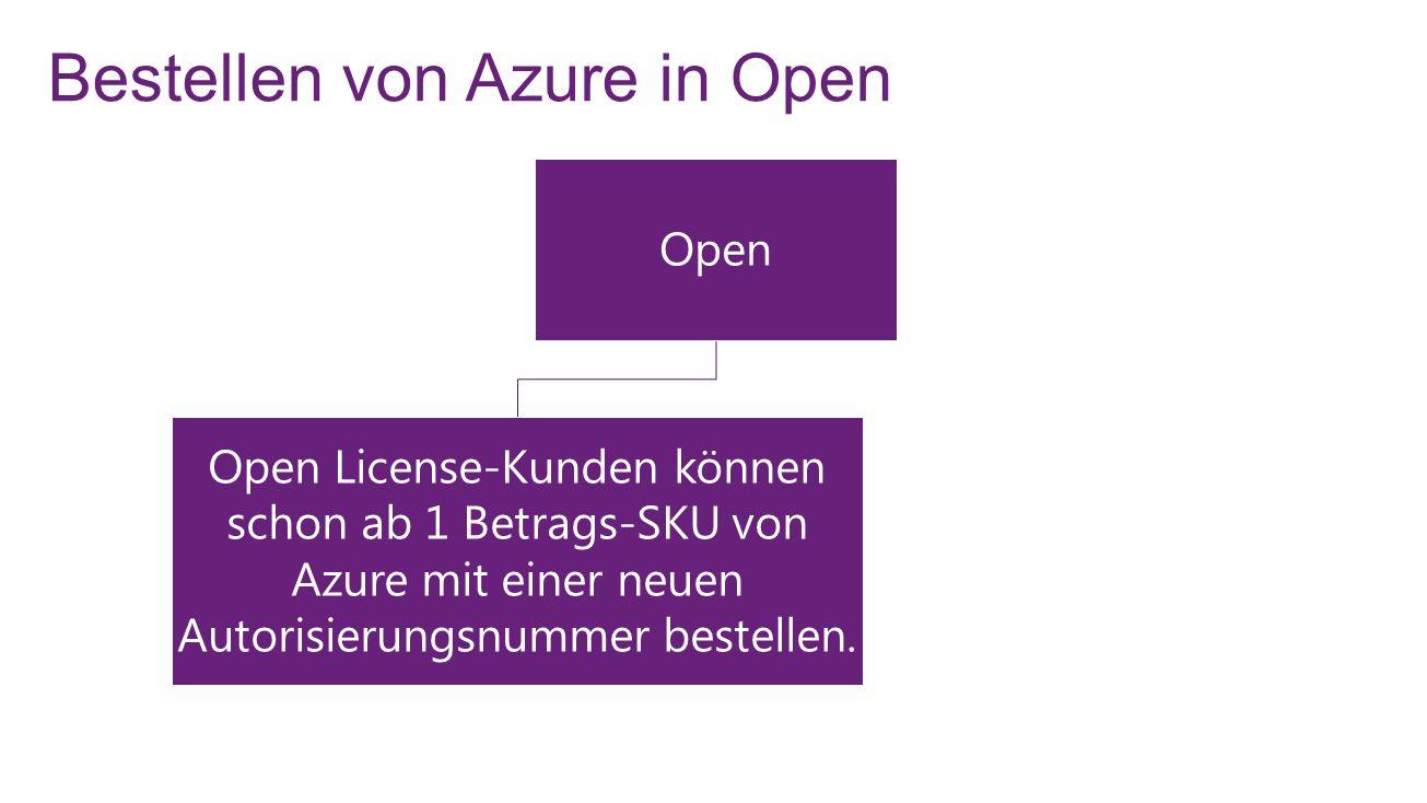 Azure in Open – Nutzungs- und Rückgaberichtlinie 12 Monate Nutzungszeitraum (ab Aktivierungszeitpunkt des OSA-Schlüssels) OV- oder OVS-Bestellung: Wenn mehrere Azure SKUs in derselben Bestellung enthalten sind, sind keine Rückgaben möglich, wenn bereits Schlüssel eingelöst wurden.