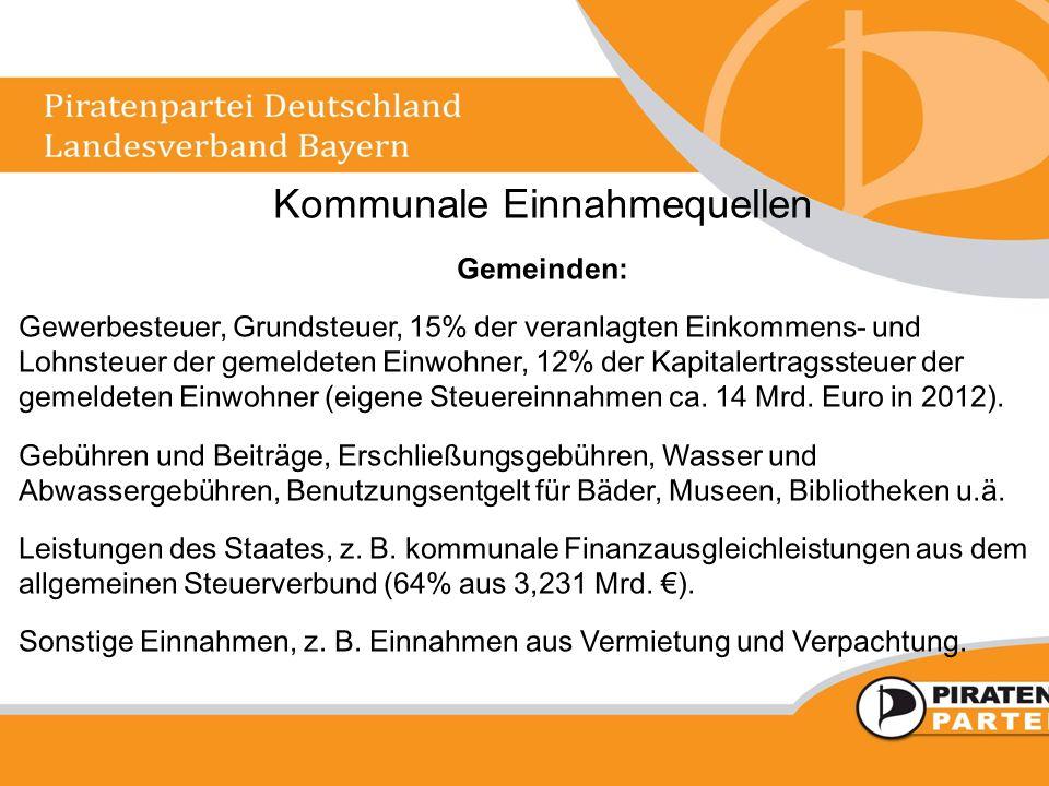 Kommunale Einnahmequellen Gemeinden: Gewerbesteuer, Grundsteuer, 15% der veranlagten Einkommens- und Lohnsteuer der gemeldeten Einwohner, 12% der Kapi