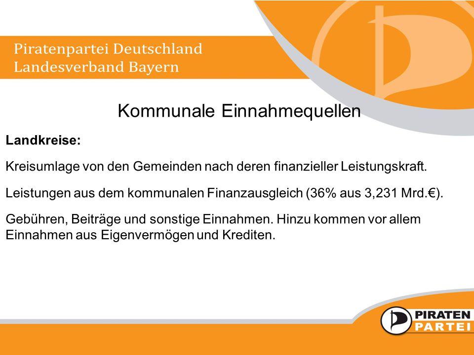 Kommunale Einnahmequellen Landkreise: Kreisumlage von den Gemeinden nach deren finanzieller Leistungskraft. Leistungen aus dem kommunalen Finanzausgle