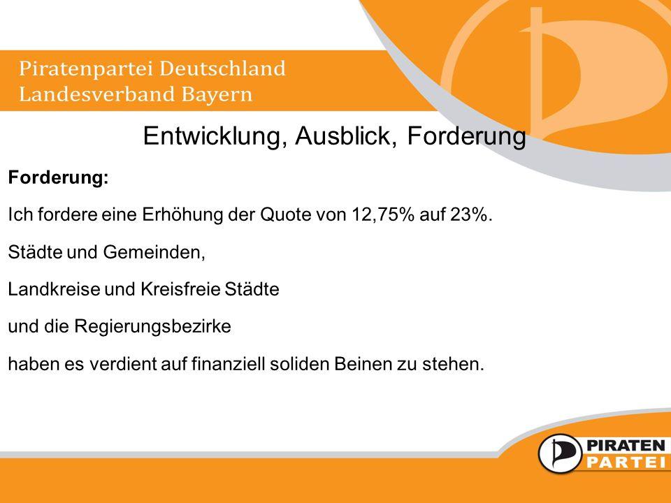 Entwicklung, Ausblick, Forderung Forderung: Ich fordere eine Erhöhung der Quote von 12,75% auf 23%.