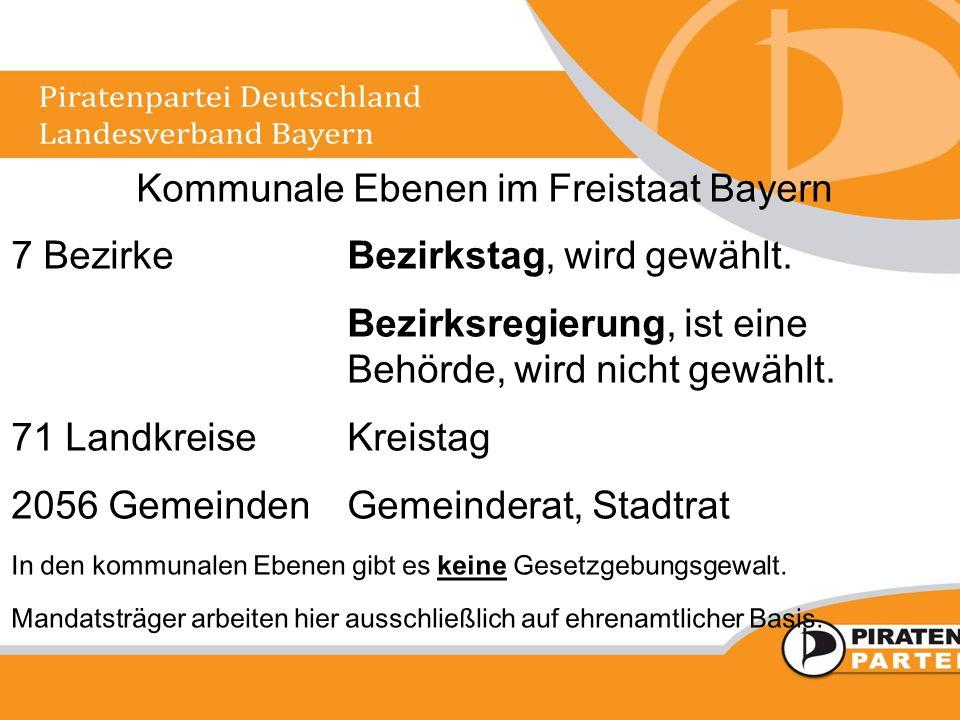 Kommunale Ebenen im Freistaat Bayern 7 BezirkeBezirkstag, wird gewählt. Bezirksregierung, ist eine Behörde, wird nicht gewählt. 71 LandkreiseKreistag