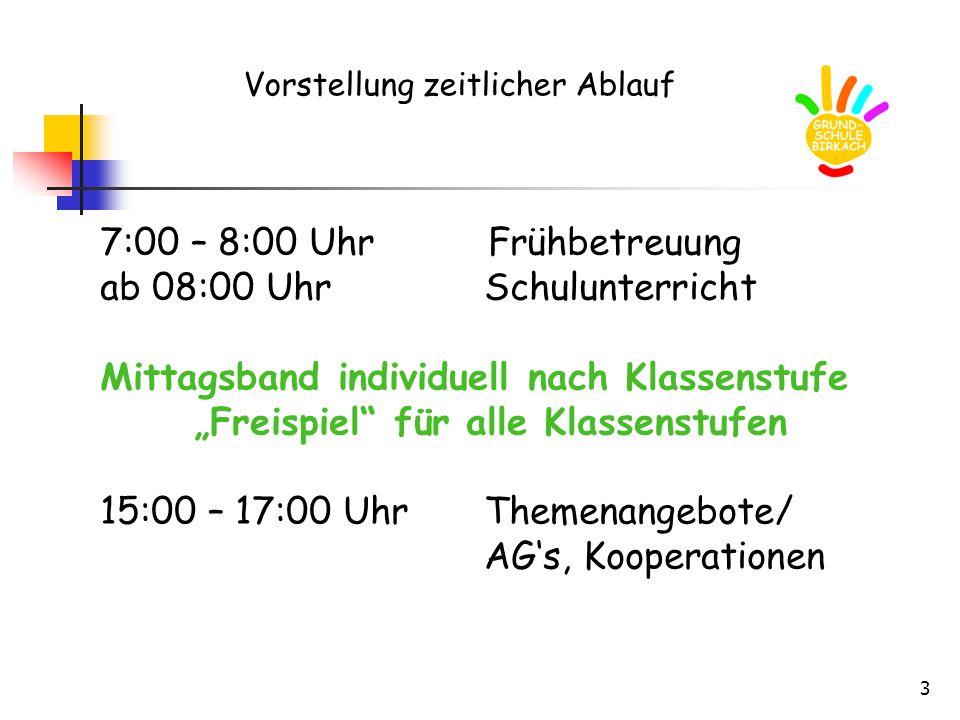 """3 Vorstellung zeitlicher Ablauf 7:00 – 8:00 Uhr Frühbetreuung ab 08:00 UhrSchulunterricht Mittagsband individuell nach Klassenstufe """"Freispiel"""" für al"""