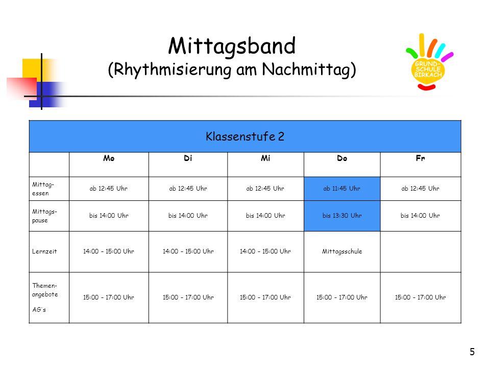 5 Mittagsband (Rhythmisierung am Nachmittag) Klassenstufe 2 MoDiMiDoFr Mittag- essen ab 12:45 Uhr ab 11:45 Uhrab 12:45 Uhr Mittags- pause bis 14:00 Uhr bis 13:30 Uhrbis 14:00 Uhr Lernzeit14:00 – 15:00 Uhr Mittagsschule Themen- angebote AG´s 15:00 – 17:00 Uhr