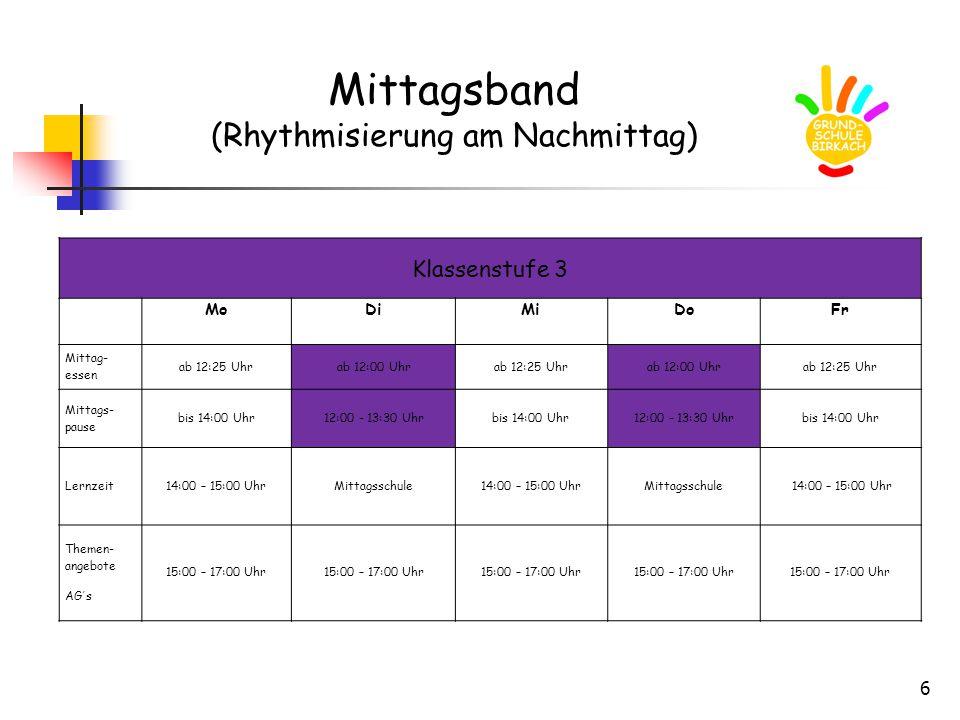 6 Mittagsband (Rhythmisierung am Nachmittag) Klassenstufe 3 MoDiMiDoFr Mittag- essen ab 12:25 Uhrab 12:00 Uhrab 12:25 Uhrab 12:00 Uhrab 12:25 Uhr Mittags- pause bis 14:00 Uhr12:00 - 13:30 Uhrbis 14:00 Uhr12:00 - 13:30 Uhrbis 14:00 Uhr Lernzeit14:00 – 15:00 UhrMittagsschule14:00 – 15:00 UhrMittagsschule 14:00 – 15:00 Uhr Themen- angebote AG´s 15:00 – 17:00 Uhr