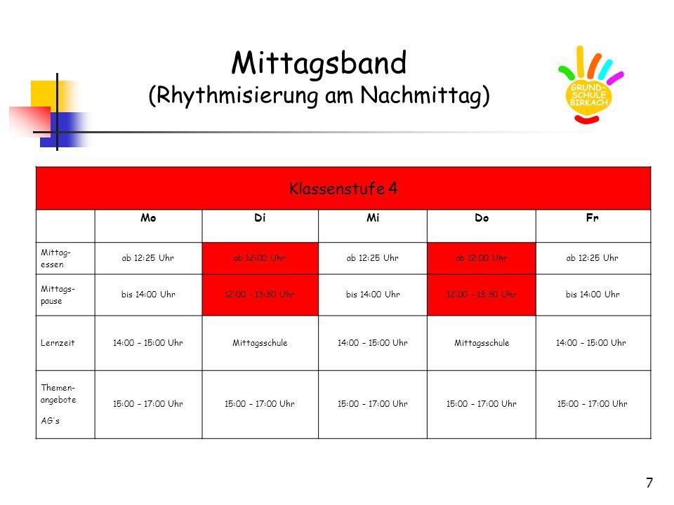 7 Mittagsband (Rhythmisierung am Nachmittag) Klassenstufe 4 MoDiMiDoFr Mittag- essen ab 12:25 Uhrab 12:00 Uhrab 12:25 Uhrab 12:00 Uhrab 12:25 Uhr Mittags- pause bis 14:00 Uhr12:00 - 13:30 Uhrbis 14:00 Uhr12:00 - 13:30 Uhrbis 14:00 Uhr Lernzeit14:00 – 15:00 UhrMittagsschule14:00 – 15:00 UhrMittagsschule14:00 – 15:00 Uhr Themen- angebote AG´s 15:00 – 17:00 Uhr