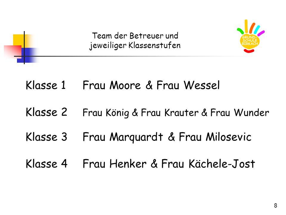 8 Team der Betreuer und jeweiliger Klassenstufen Klasse 1Frau Moore & Frau Wessel Klasse 2 Frau König & Frau Krauter & Frau Wunder Klasse 3Frau Marqua