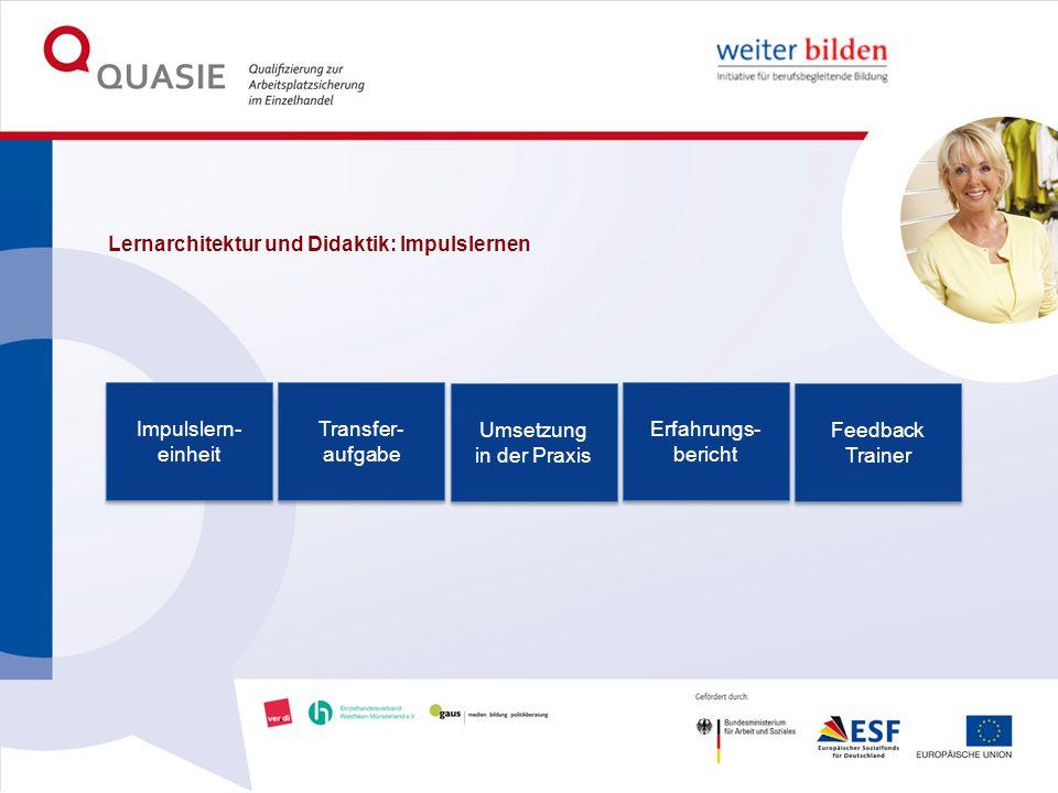 Lernarchitektur und Didaktik: Impulslernen Impulslern- einheit Transfer- aufgabe Umsetzung in der Praxis Erfahrungs- bericht Feedback Trainer