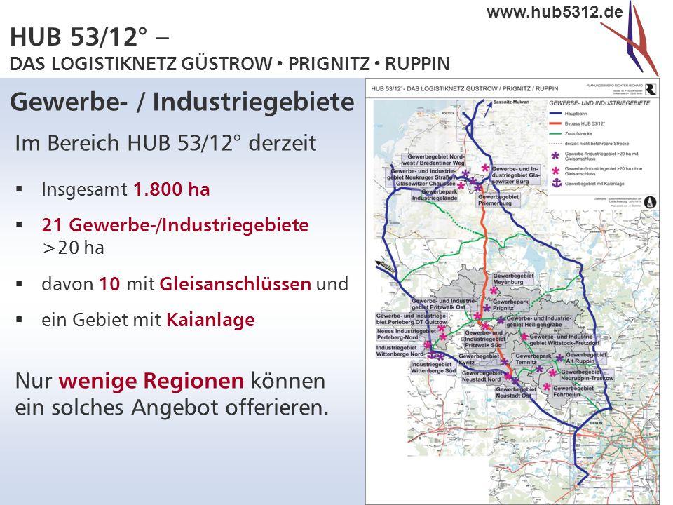 HUB 53/12° – DAS LOGISTIKNETZ GÜSTROW  PRIGNITZ  RUPPIN www.hub5312.de Gewerbe- / Industriegebiete Im Bereich HUB 53/12° derzeit  Insgesamt 1.800 h
