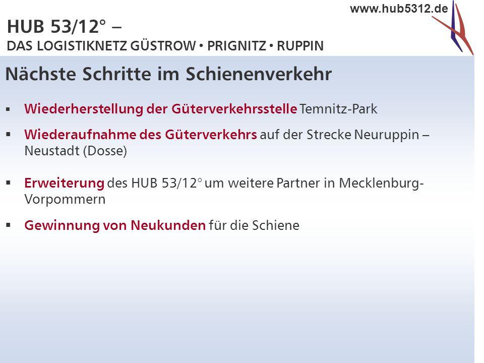 HUB 53/12° – DAS LOGISTIKNETZ GÜSTROW  PRIGNITZ  RUPPIN www.hub5312.de Nächste Schritte im Schienenverkehr  Wiederherstellung der Güterverkehrsstel