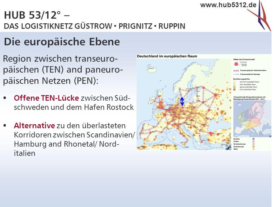 HUB 53/12° – DAS LOGISTIKNETZ GÜSTROW  PRIGNITZ  RUPPIN www.hub5312.de Die europäische Ebene Region zwischen transeuro- päischen (TEN) and paneuro-